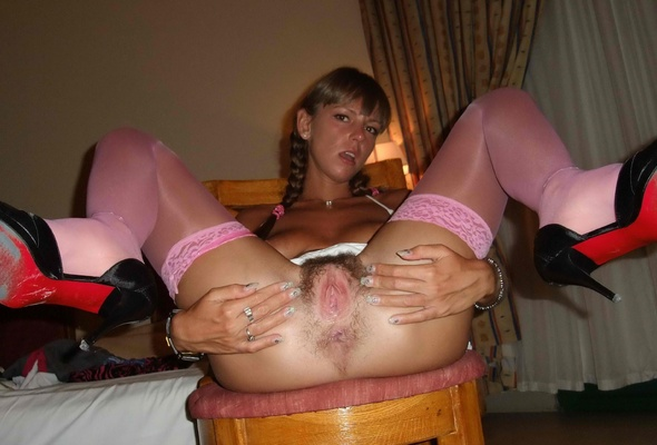 Heels and stockings hairy pussy