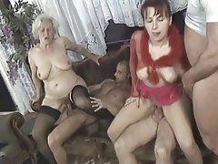Seniors having group sex