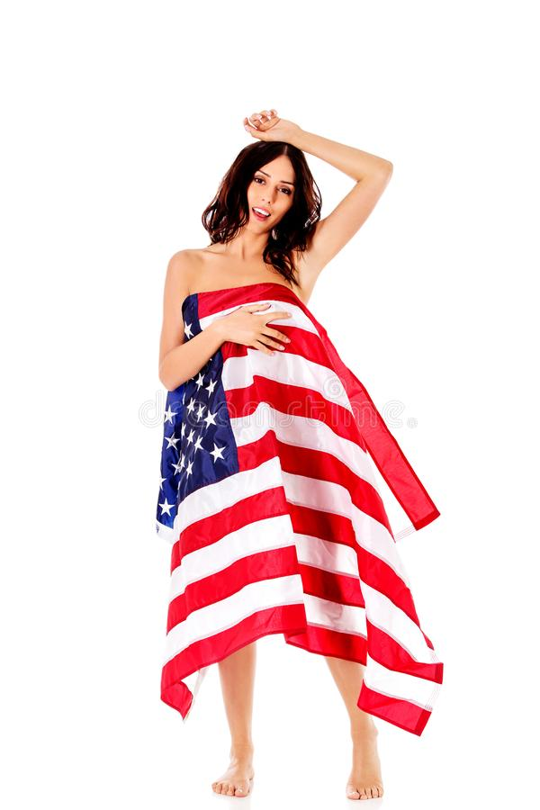 Naked women with american flag