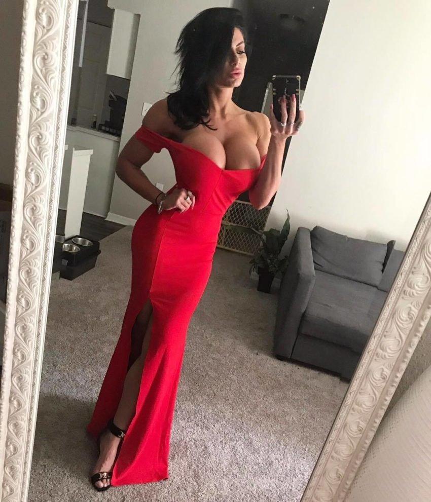 Red dress big tits tight