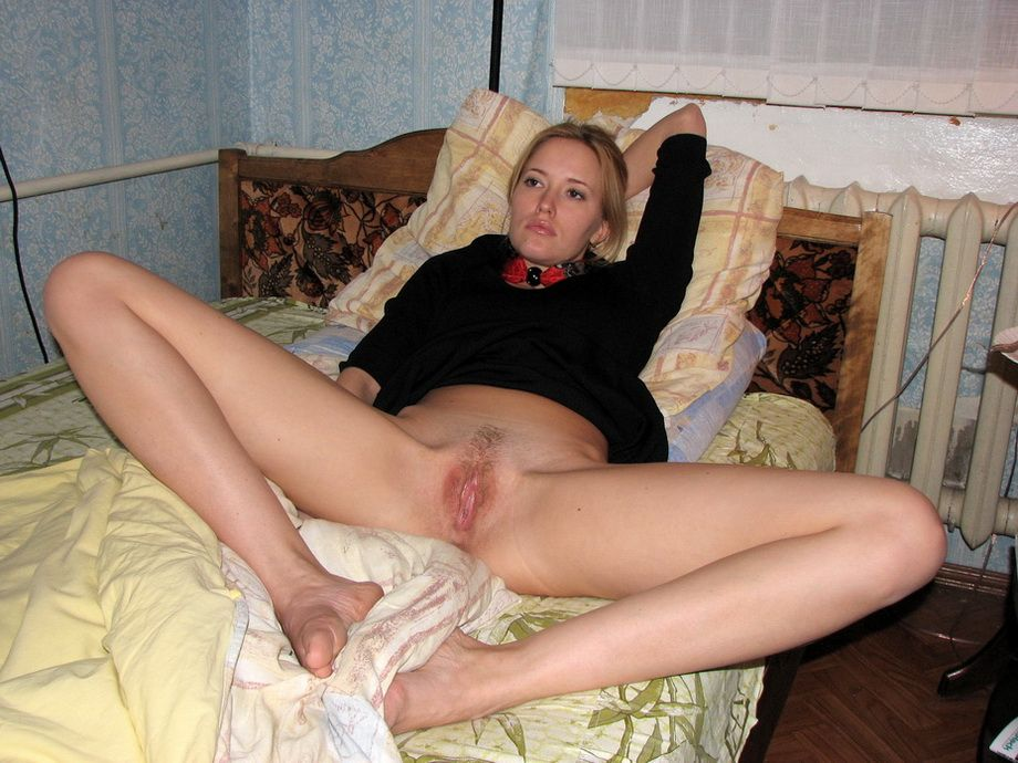 Blonde legs spread naked