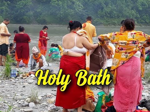 Aunty bath hot river