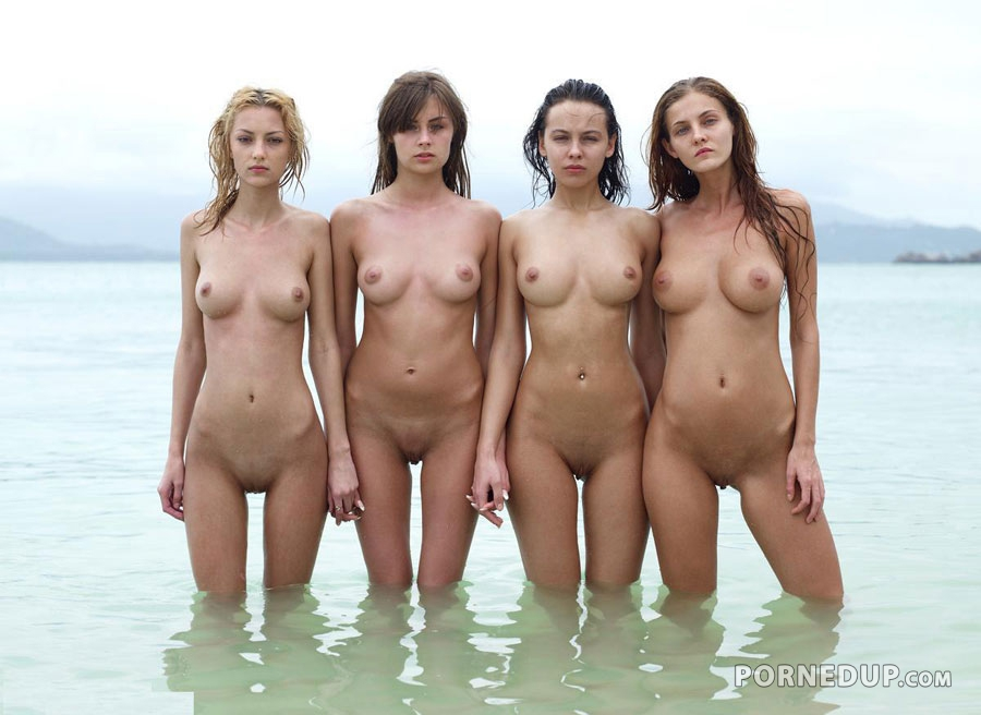 Naked girl group bath