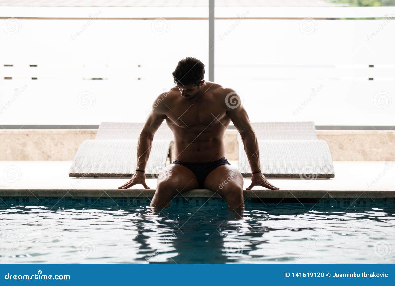 Naked men swimming pool nude