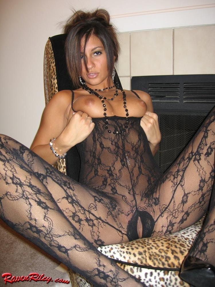 Raven riley black stockings