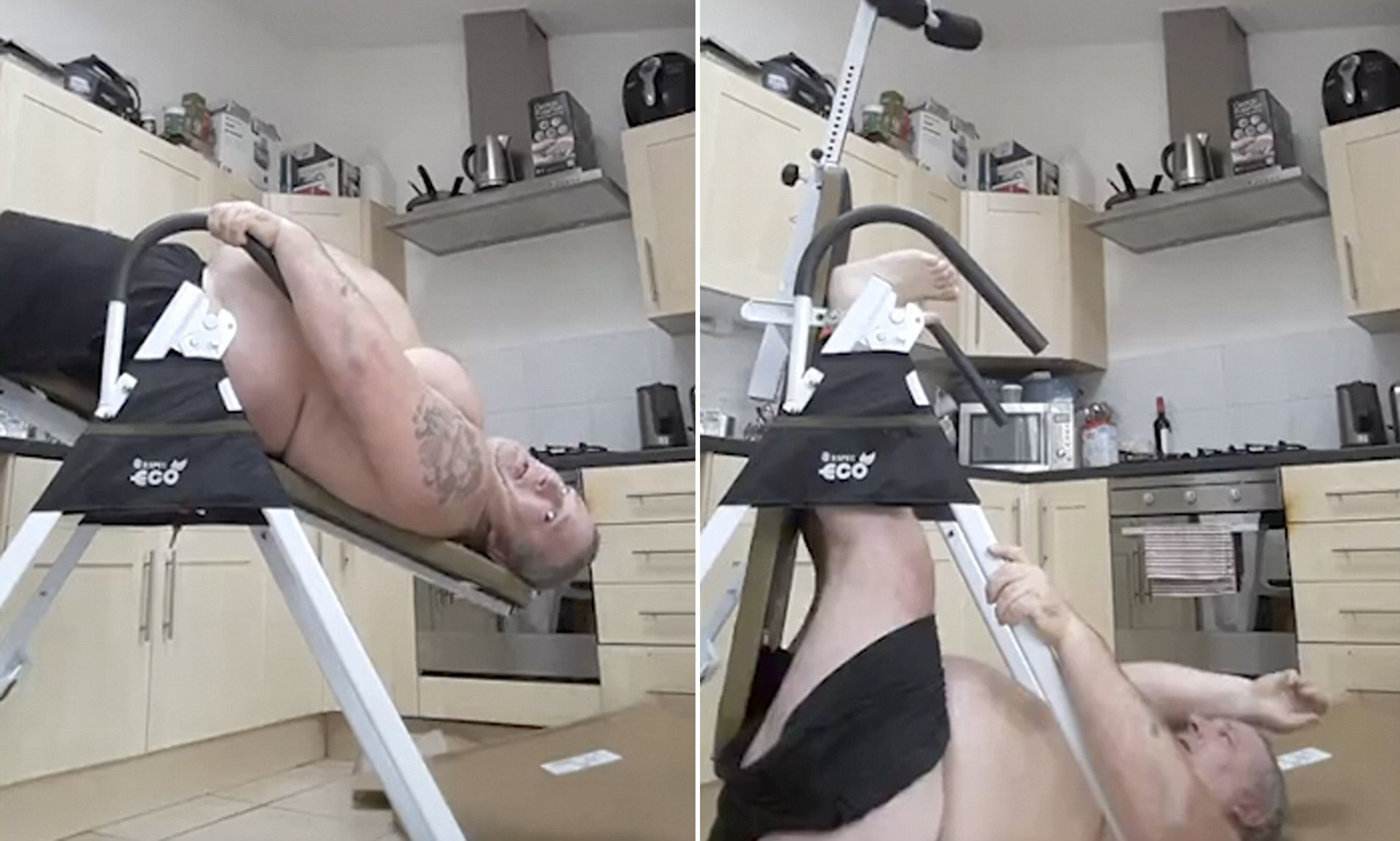 Nude women on inversion tables