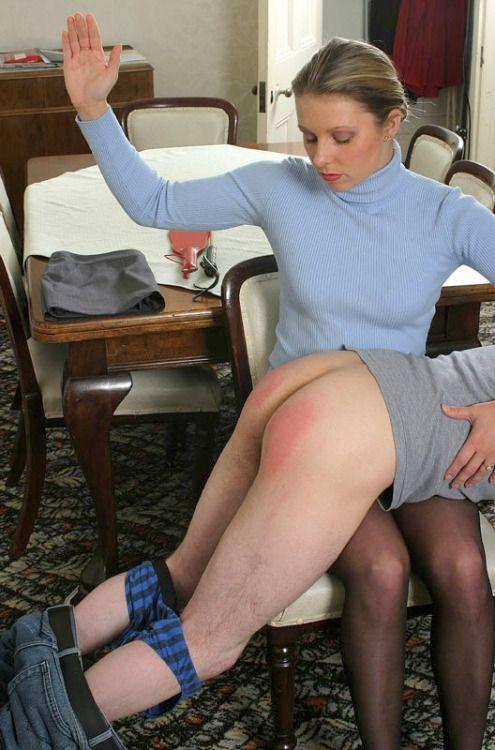 Over the knee women spanking men