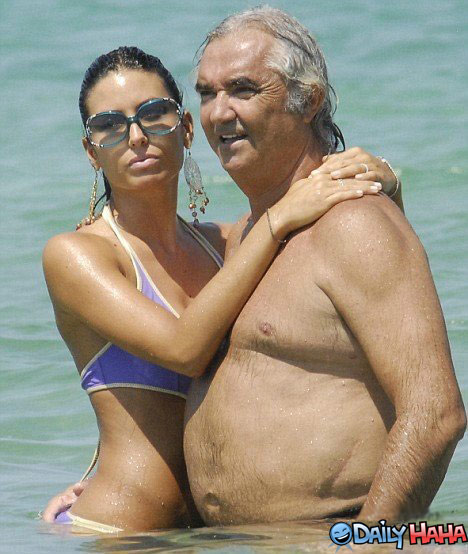 Sexy girl and old man