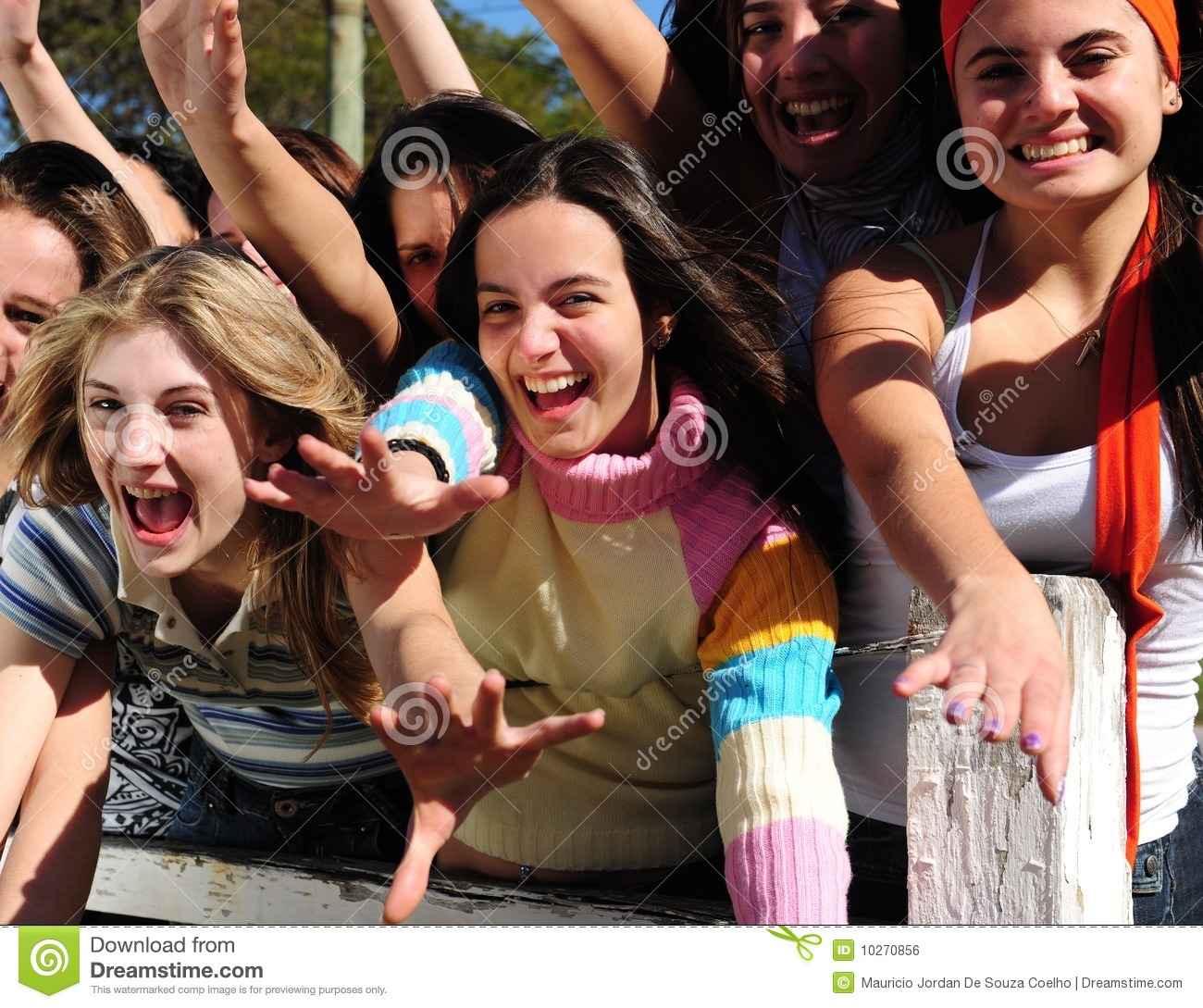 Excited young teen girls