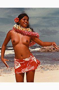 Topless hula girl naked