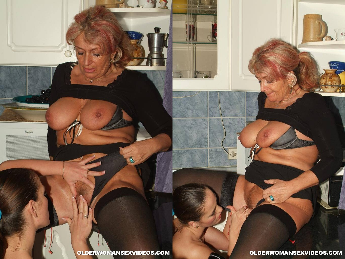 Mature hairy pussy kitchen
