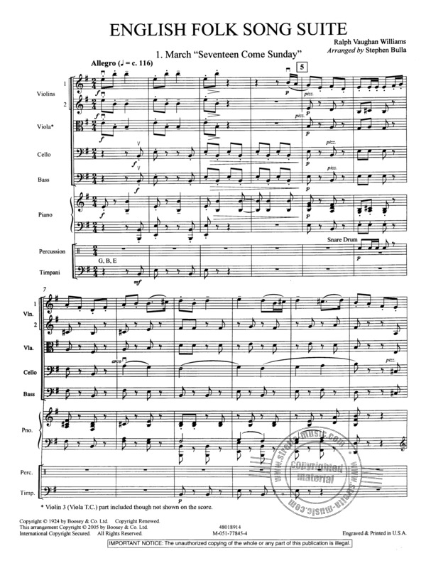 English folk song suite sheet music