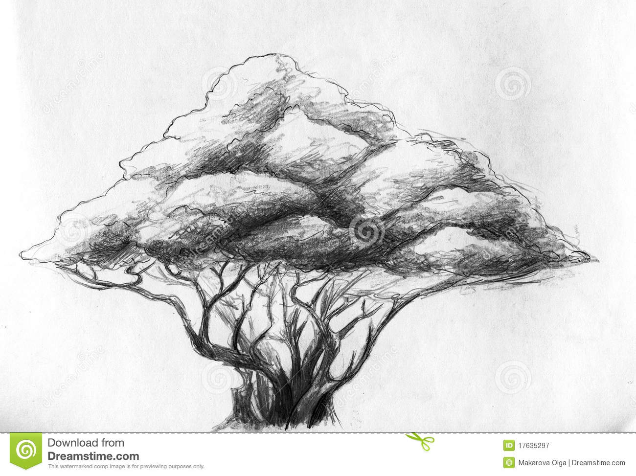 Pencil drawings people shaped trees