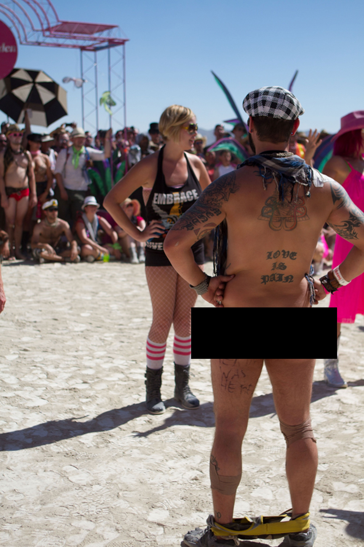 Nude girl holding erect penis