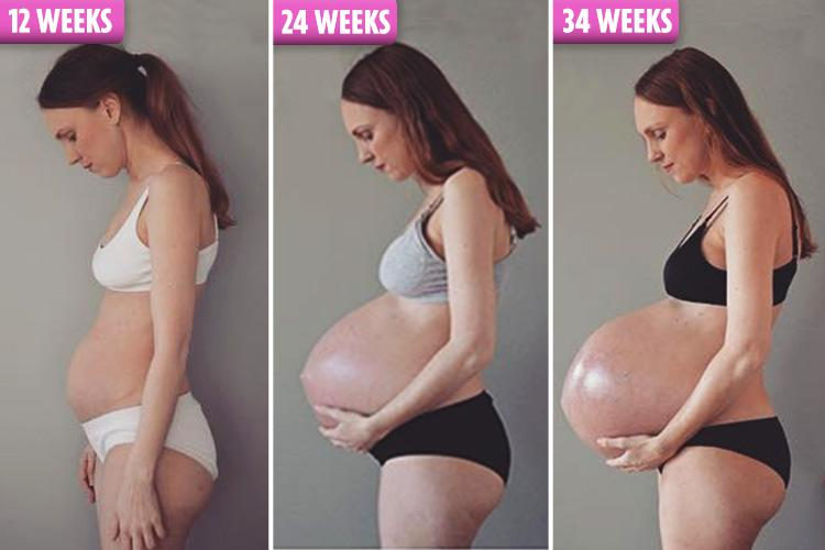 Pregnant bellies with triplets