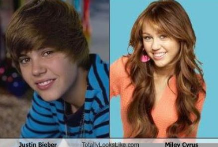 Justin bieber and miley cyrus look alike