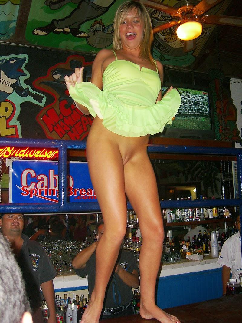 Drunk naked girls dancing on bar