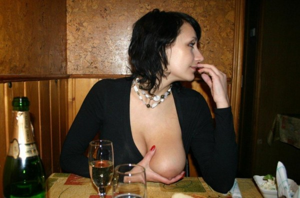 Wife flashing tits restaurant