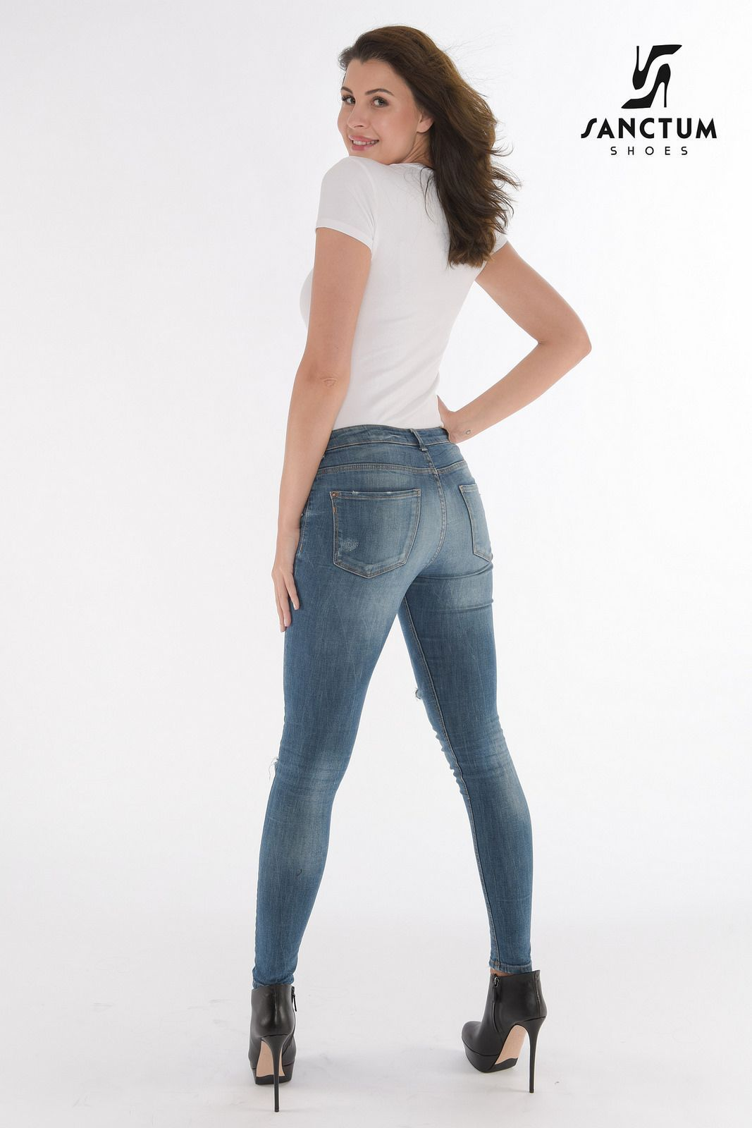 Tight jeans high heels