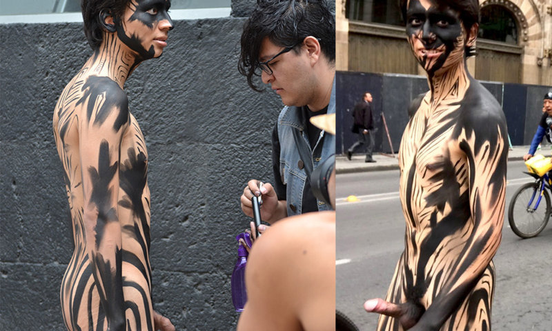 Naked body paint penis