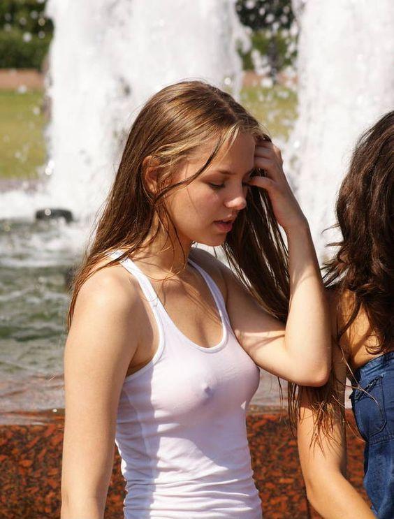 Girl see through wet shirt nipples