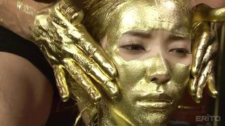 Gold pussy body paint