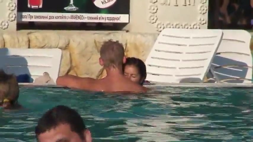 Amateur public pool sex