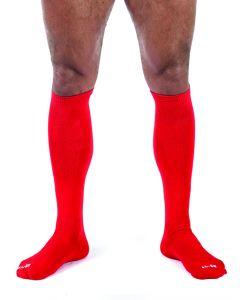 Red soccer socks bondage
