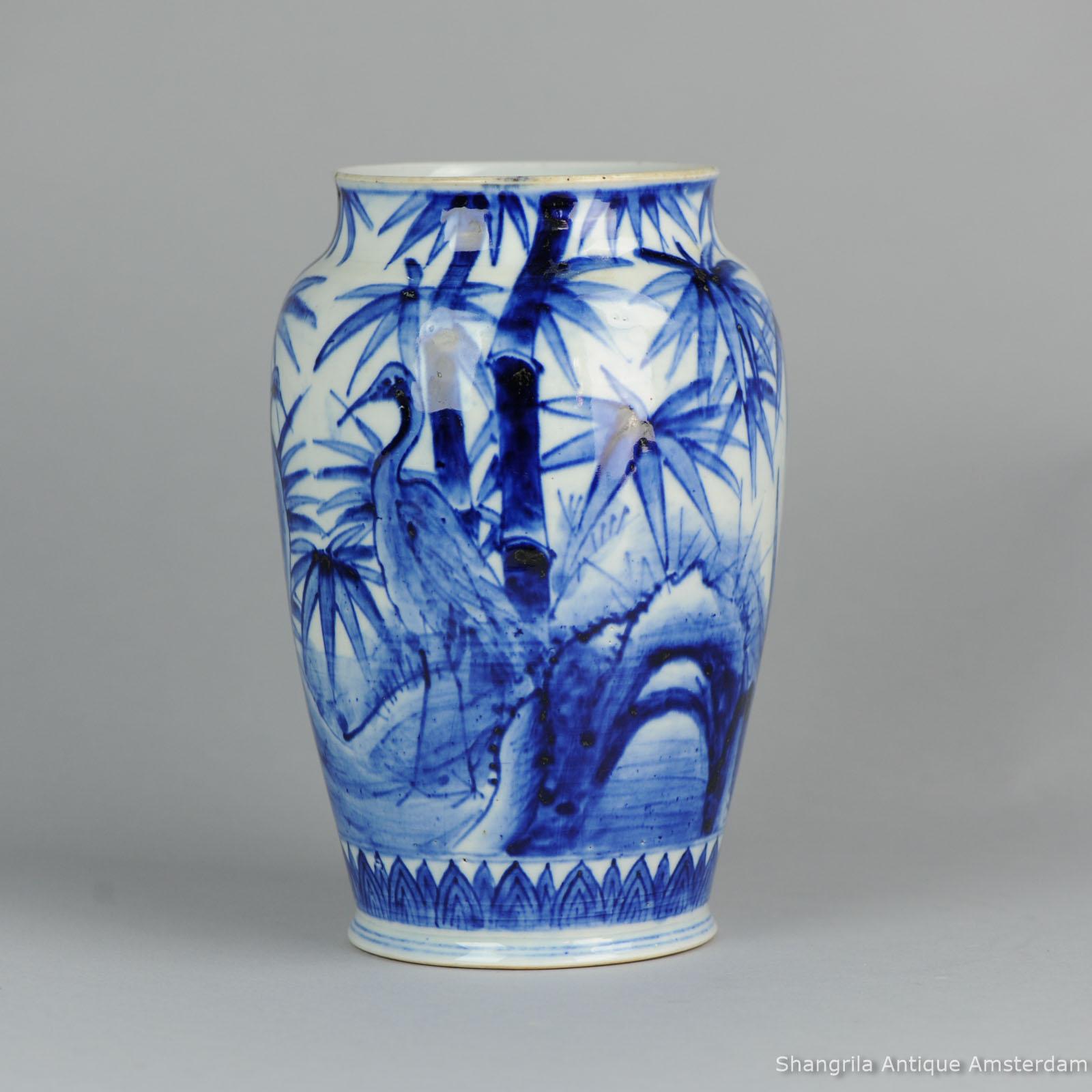 Vintage japanese porcelain white crane
