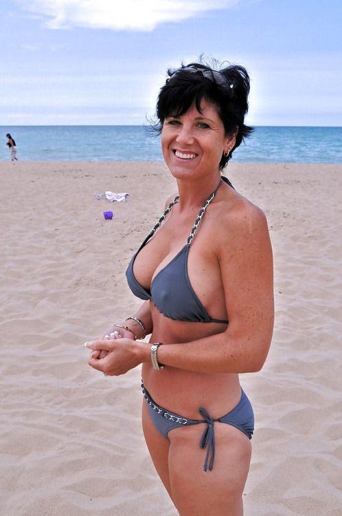 Mature women bikini beach