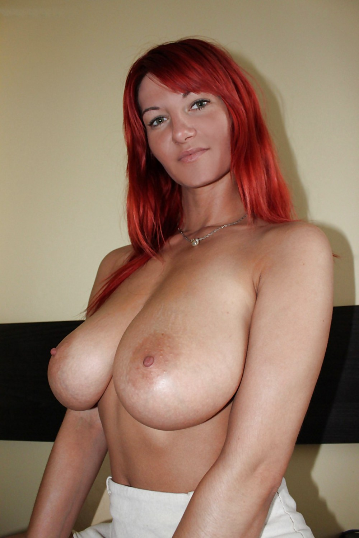 Topless girls busty redhead