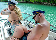 White wife black cock boat