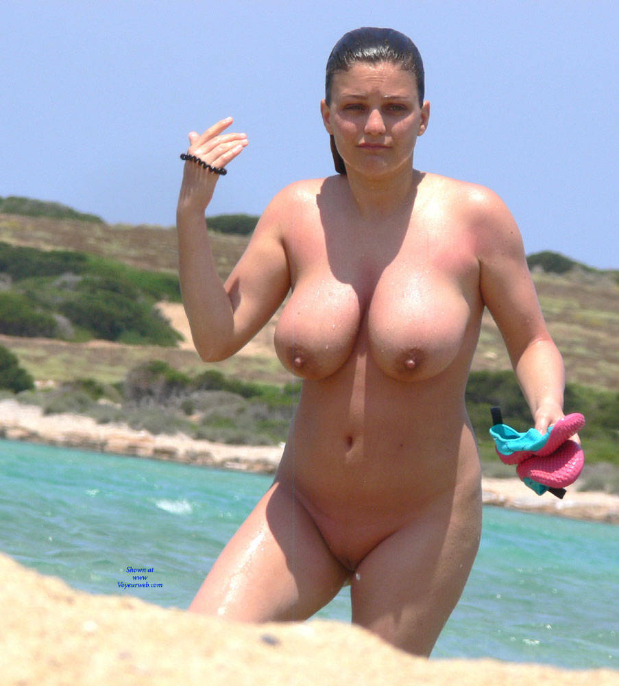 Big busty tits on beach