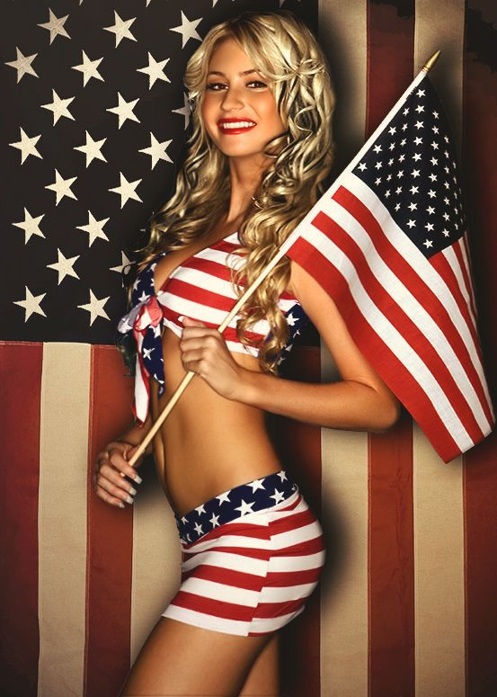 Hot naked girl american flag