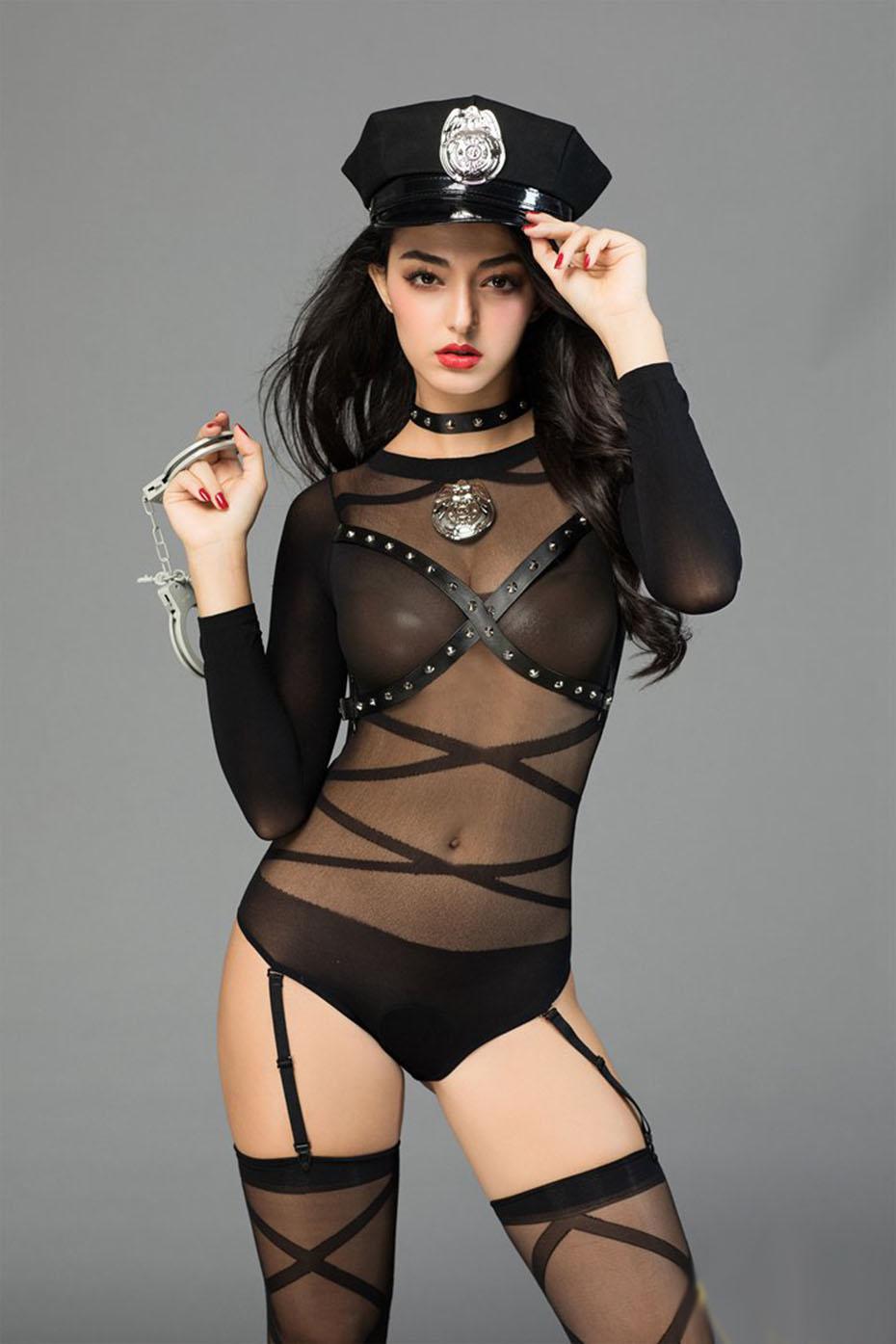 Porn women in police uniforms