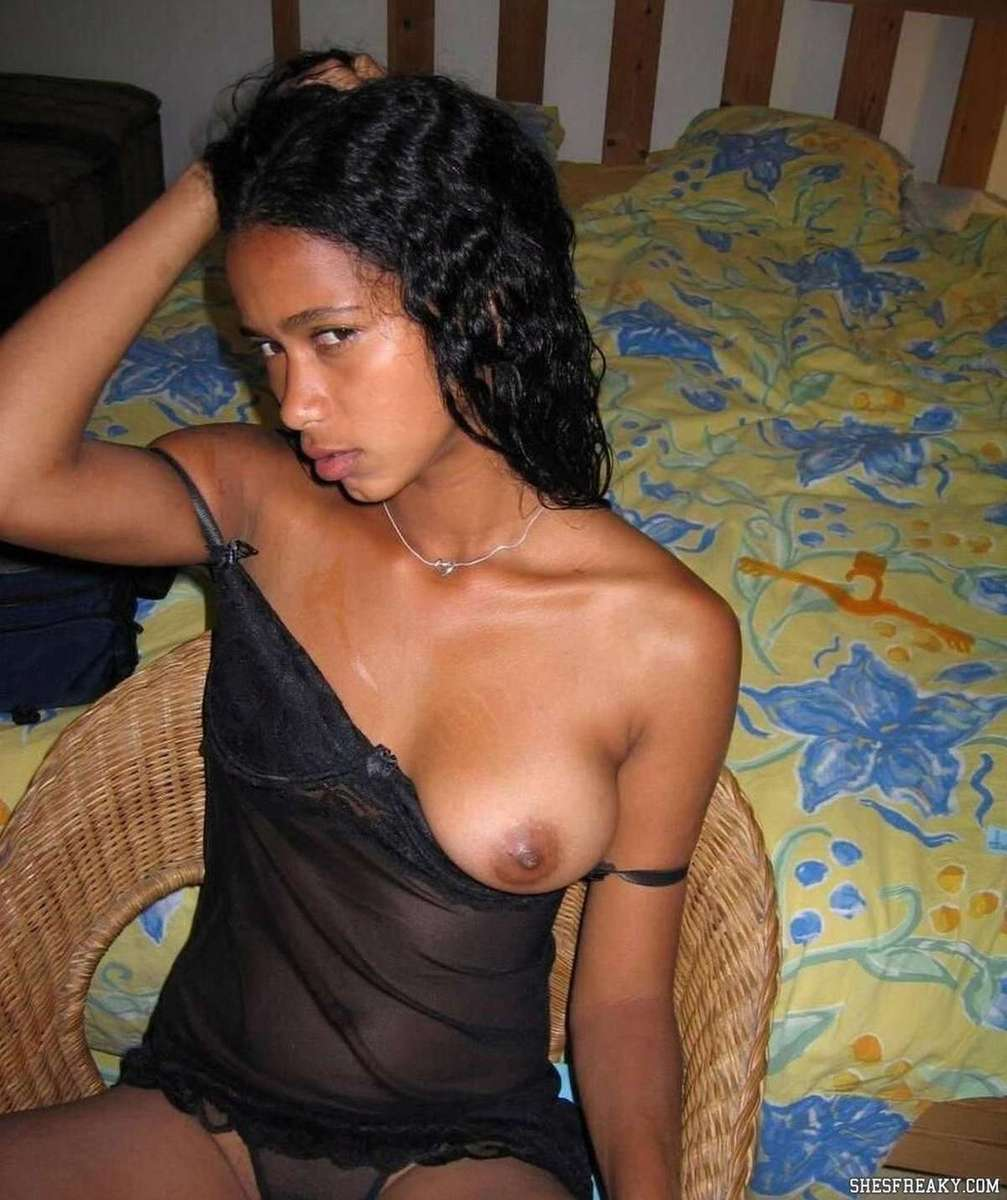 Black girl half- naked