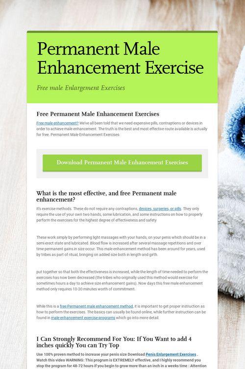 Permanent penis enlargement exercises