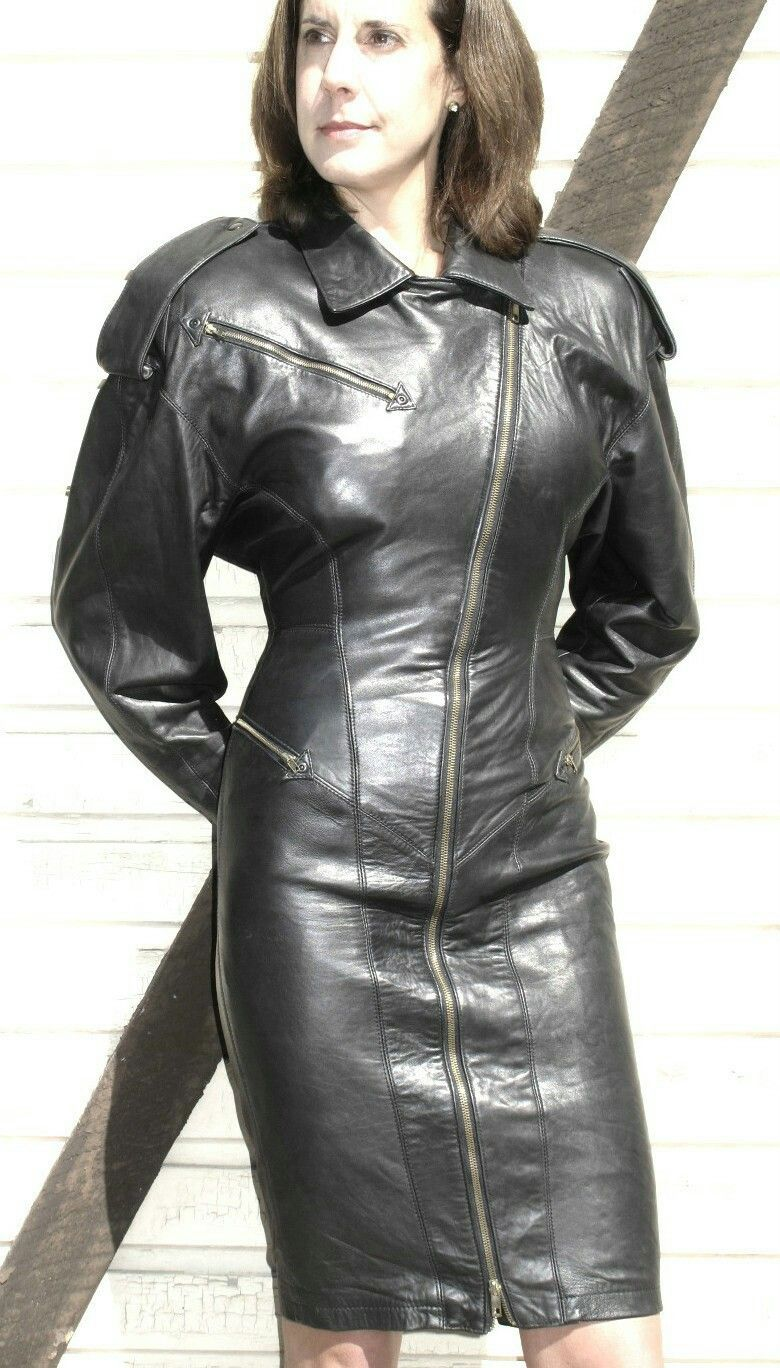 Amateur girls leather dress
