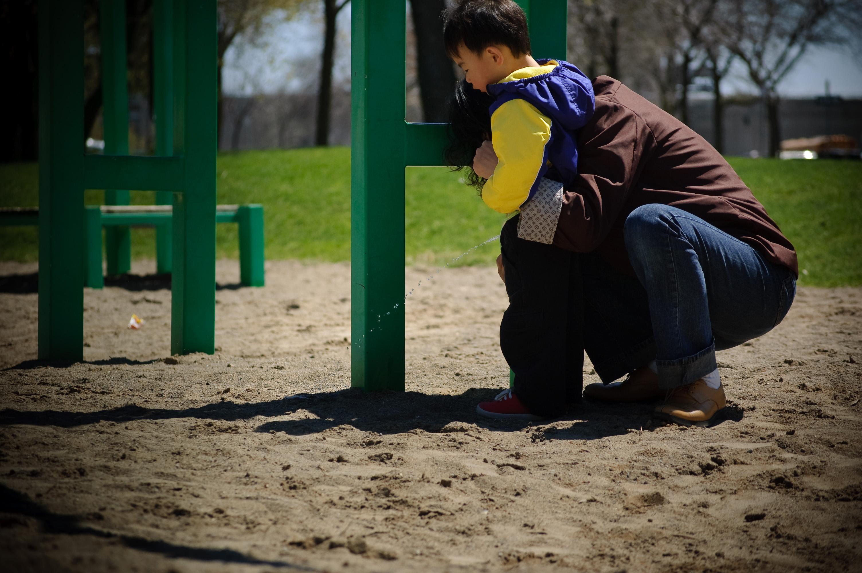 Young teen boy public pee