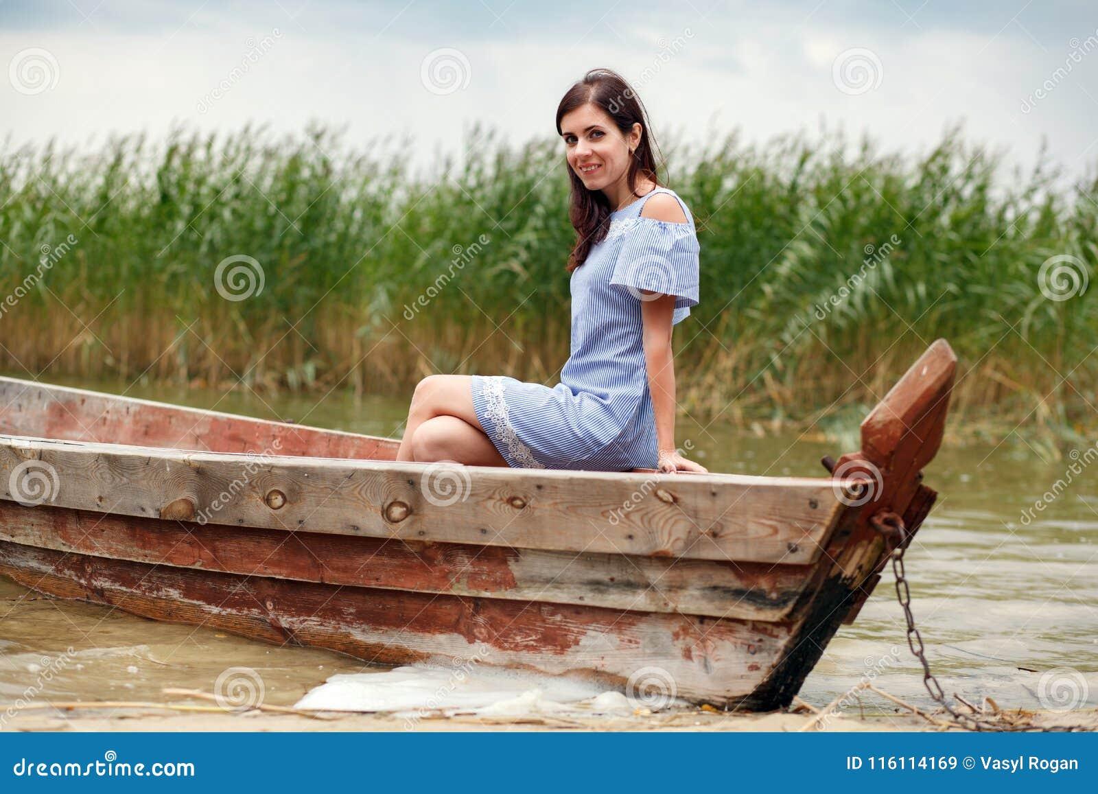 Brunette women on a fishing boat