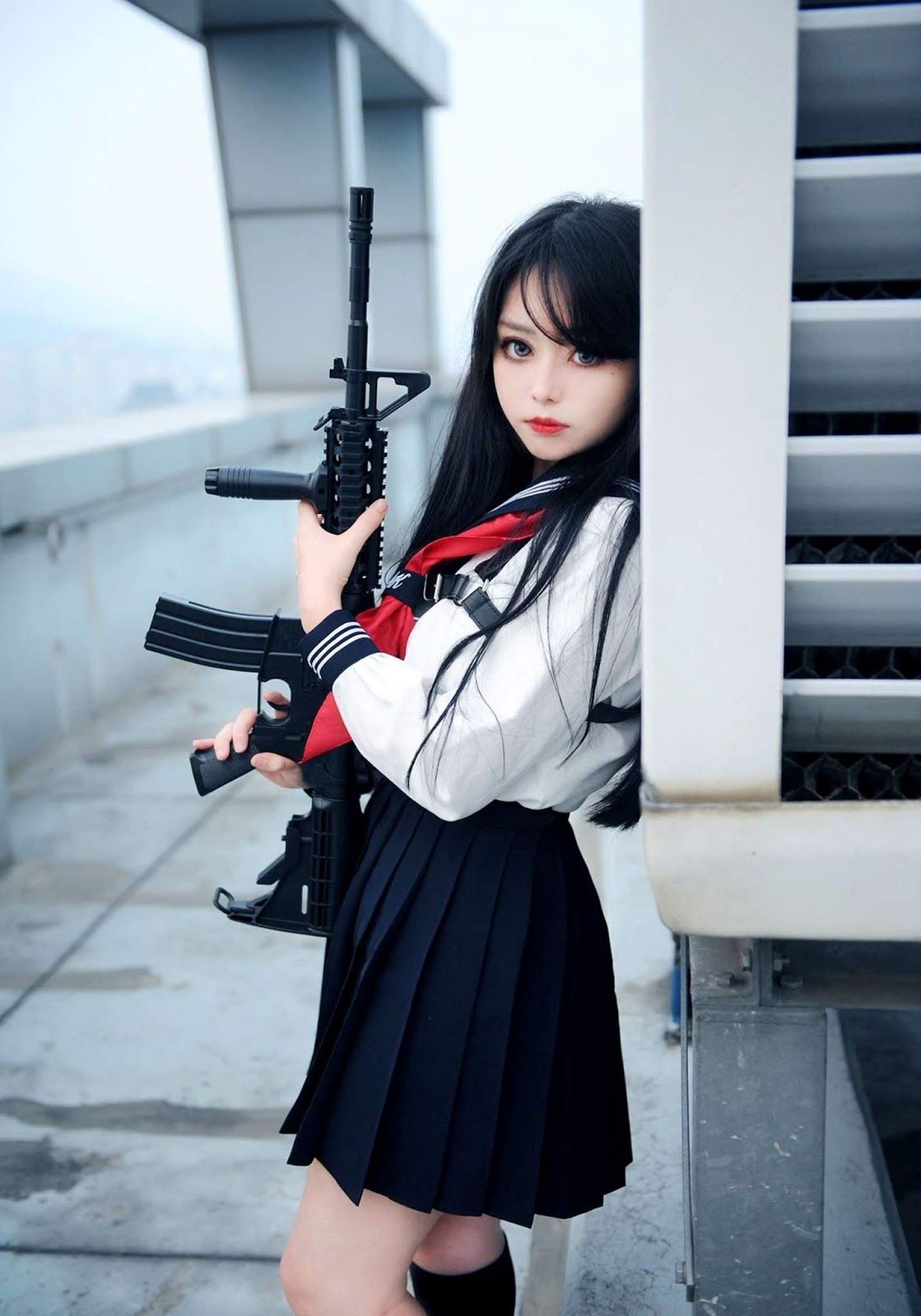 Asian girls with guns