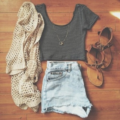 High waisted shorts and crop tops tumblr