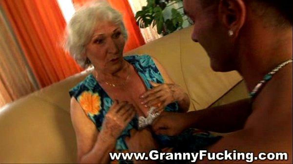 Huge uncut dick fucking granny